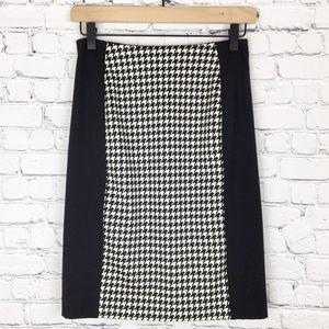 Michael Kors Houndstooth Pencil Skirt Black White